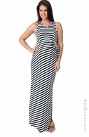 Ripe Maternity Midnight & White Side-Tie Maxi Dress
