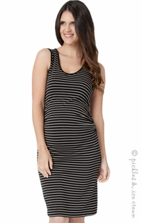 Maternity Clothes: Ripe Maternity Black & Tan Mia Tank Dress - Click to enlarge