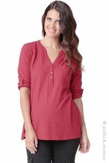 Ripe Maternity Cottom Slub Grandpa Tshirt Red- Final Sale