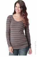 Ripe Maternity Whistler Walnut/Grey Stripe Top- Final Sale