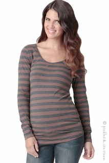 Maternity Clothes: Ripe Maternity Whistler Walnut/Grey Stripe Top- Final Sale  - Click to enlarge