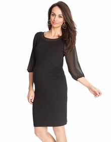 Maternity Clothes: Seraphine Maternity Black Chiffon Shift Dress  - Click to enlarge