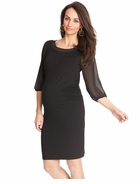 Seraphine Maternity Black Chiffon Shift Dress