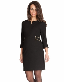 Maternity Clothes: Seraphine Audrey Double Zip Dress Black - Click to enlarge