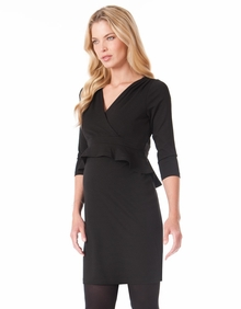 Maternity Clothes: Seraphine Debbie 3/4 Sleeve Peplum Dress Black - Click to enlarge