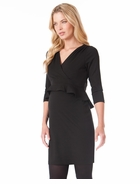 Seraphine Debbie 3/4 Sleeve Peplum Dress Black