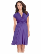 Seraphine Maternity Jolene Short Sleeve Knot Dress Purple