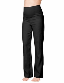 Maternity Clothes: Seraphine Maternity Leni Linen Trousers Black - Click to enlarge