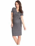 Seraphine Maternity Renata Short Sleeve Polka Dot Mock Wrap Dress