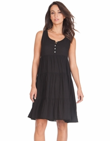 Maternity Clothes: Seraphine Maternity Victoria Tier Dress Black - Click to enlarge