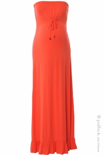 Maternity Clothes: Sono Vaso Maternity Coral Ara Maxi Dress -Final Sale - Click to enlarge