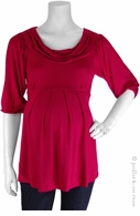 Bellyssima Maternity Berry Draped Pleated Top