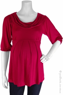 Maternity Clothes: Bellyssima Maternity Berry Draped Pleated Top  - Click to enlarge
