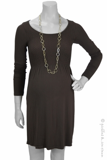 Maternity Clothes: zzChocolate Diamond Smocked Long Sleeve Dress-Final Sale - Click to enlarge