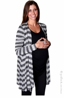 zzEverly Grey Grey Stripe Sherman Cardigan