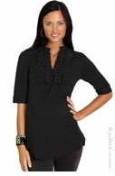 zzEverly Grey Maternity Black Rowan Tuxedo Tunic