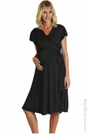 zzEverly Grey Maternity Black Uma Wrap Dress