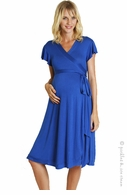 zzEverly Grey Maternity Royal Blue Uma Wrap Dress