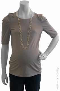 Maternity Clothes: zzJules & Jim Maternity Taupe Ruched Sleeve Top-Final Sale  - Click to enlarge