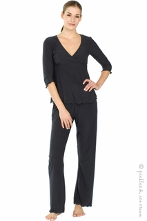 zzMajamas Nursing & Maternity Black 3/4 Sleeve PJ Set