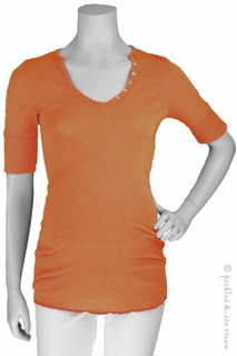 Michael Stars Maternity Shine Elbow Sleeve Henley Rust
