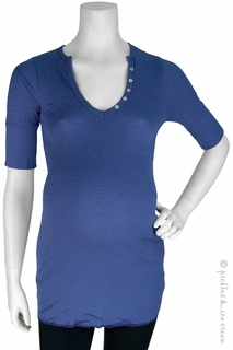 Michael Stars Maternity Shine Elbow Sleeve Henley Vista Indigo