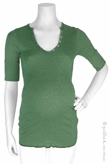 Michael Stars Maternity Shine Elbow Sleeve Henley Forest