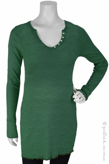 zzMichael Stars Maternity Shine Long Sleeve Henley Tunic Cucumber