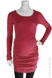 Maternity Clothes: Michael Stars Maternity Shine Ruched Tunic Poppy - Click to enlarge