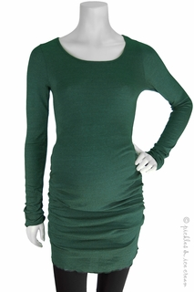 Maternity Clothes: Michael Stars Maternity Shine Ruched Tunic Forest - Click to enlarge
