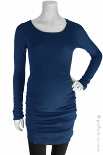 Maternity Clothes: Michael Stars Maternity Shine Ruched Tunic Navy Marlin - Click to enlarge