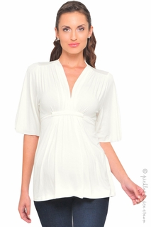 Maternity Clothes: zzOlian Maternity Ivory Grecian Top - Click to enlarge