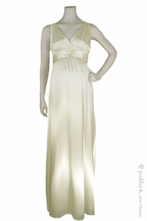 Maternity Clothes: zzRipe Maternity Long Ivory Satin Gown - Click to enlarge