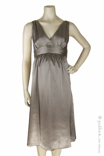 Maternity Clothes: zzRipe Maternity Short Satin Dress Metal - Click to enlarge