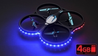 Hero RC  XQ-5 V626 UFO Drone with Camera and LED 4 Channel 6 Axis Gyro Headless Mode Quadcopter 2.4ghz Ready to Fly w/ 4GB Memory Card & Extra Battery RC Remote Control Radio