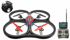 WLtoys V666 5.8G FPV 6 Axis 2.4G UFO Quadcopter Drone with HD Camera Monitor RTF Red w/4GB Memory Card RC Remote Control Radio UAV