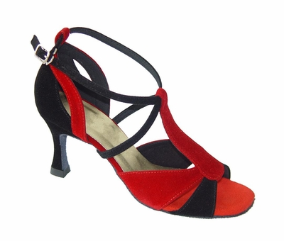 Red and Black Nubuck Sandals 175501