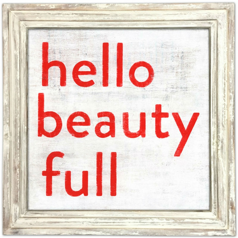 36 x 36 hello beauty full art print with white wash frame by sugarboo designs
