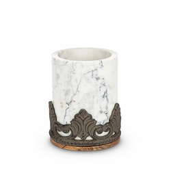 Antiquity Marble & Wood Utensil Holder - GG Collection