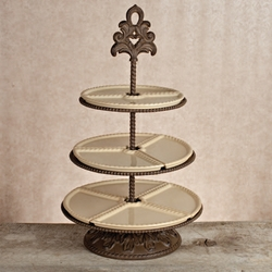 Tiered Hammered Glass Cake Plate Stand Server