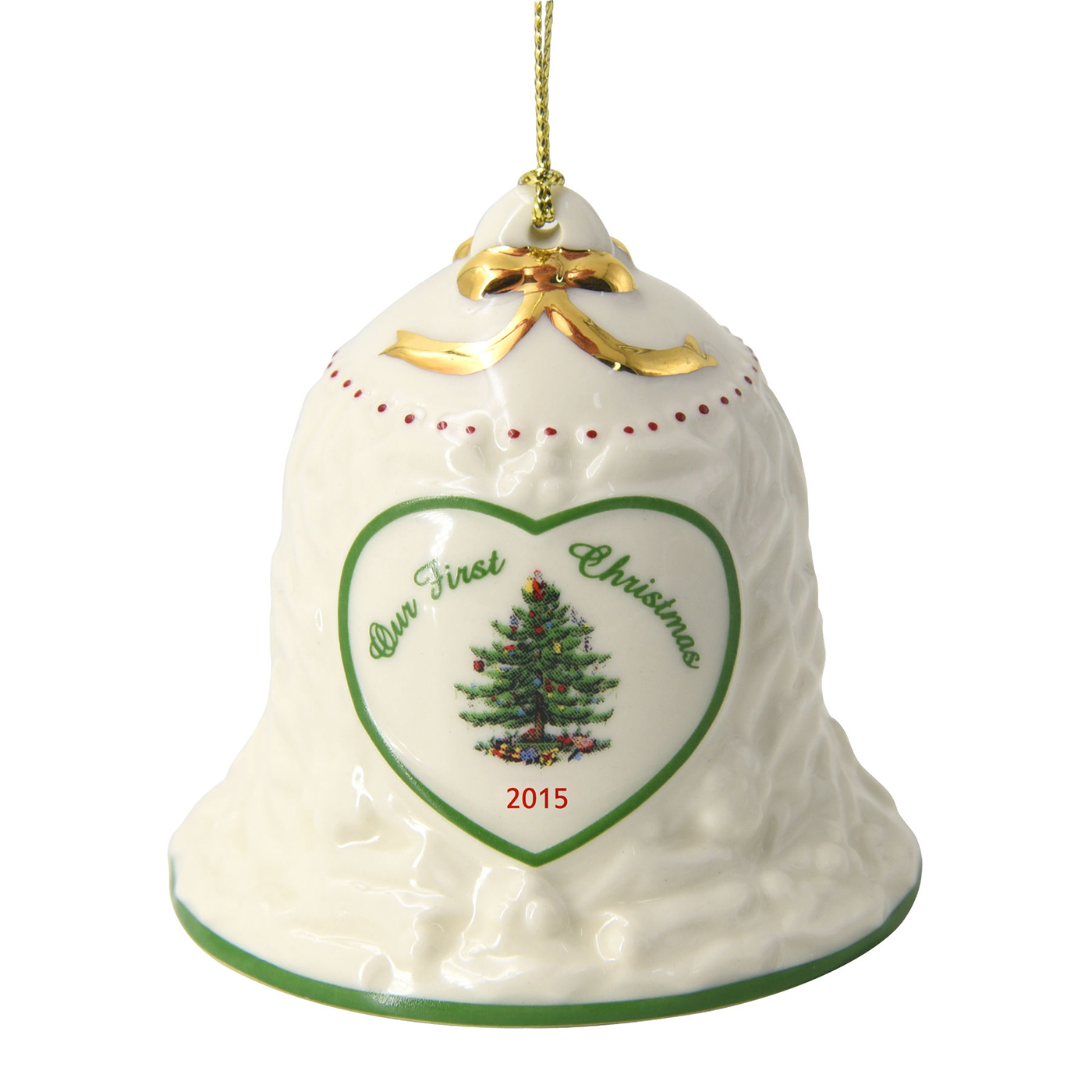 Christmas Tree 2015 Our First Christmas Bell Ornament by Spode