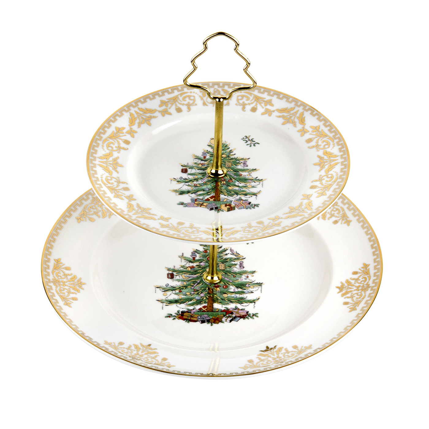 Spode Christmas Tree Candle Holder: Christmas Tree Gold 2-Tier Cake Stand By Spode