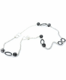 CLOSEOUT - Black Lace Hoop Chain Necklace
