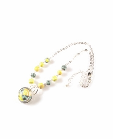 CLOSEOUT - Green Envy Silver Link Swirl Necklace