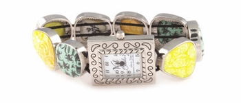 DISCONTINUED Green Envy Square Pebble Watch