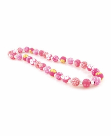 CLOSEOUT - Simply Pink Chunky Silver Ball Necklace