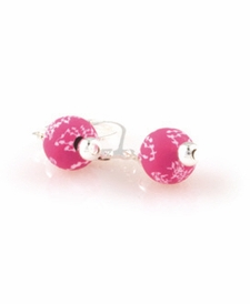 CLOSEOUT - Simply Pink Classic Silver Ball Earring
