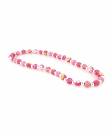 CLOSEOUT - Simply Pink Classic Silver Ball Necklace