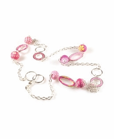 CLOSEOUT - Simply Pink Hoop Chain Necklace