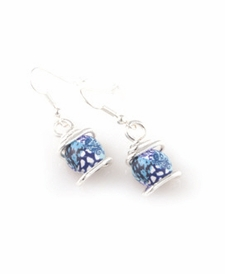 CLOSEOUT - Something Blue Silver Swirl Earring